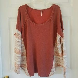 Free People/ long sleeve top w/sweater accents